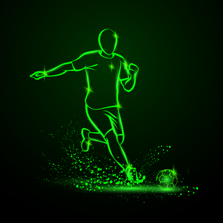 Green Neon soccer striker. Football player hits the ball in the dark under the rain.