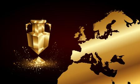 Goldene Low-Poly-Euro-Cup-Banner. Abstrakte polygonale 3D-Sporttrophäe und Europa-Kartenhintergrund.