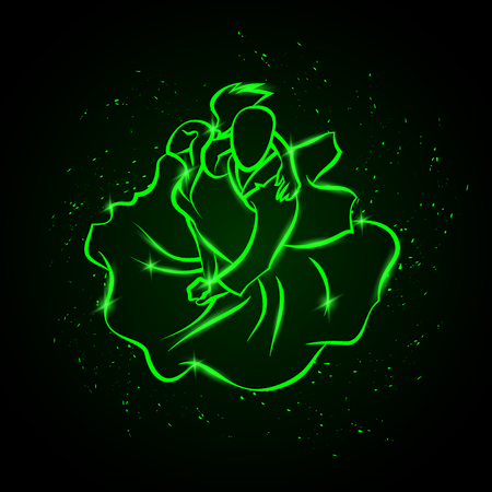 Couple dancing tango. Top view. Vector green neon illustration.