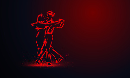 Couple dancing foxtrot. Vector red neon banner with copy space.