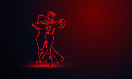 Paar tanzender Foxtrott. Vektorrote Neonfahne mit Kopienraum.