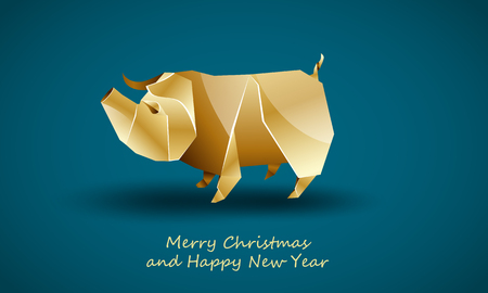 Golden Big Pig as a Symbol of Chinese New Year. Vector Polygonal Wild Boar on Soft Blue Background as Invitation Template for New Year Party.