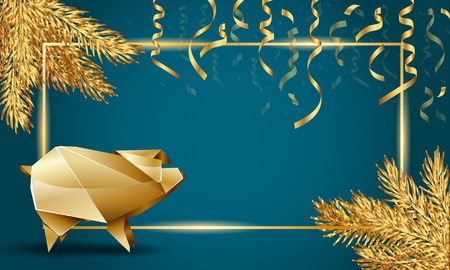 Christmas and New Year Template background with Golden Fir Branches, Golden Pig And Serpentine