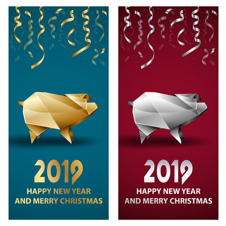 Golden and Silver Pig as a Symbol of Chinese New Year 2019. Vector Polygonal Pig and Serpentine Decor for New Year Party Invitation Templates set.