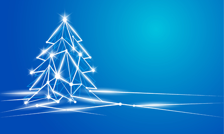 Abstract Christmas and New Year background with glowing polygonal Christmas tree.