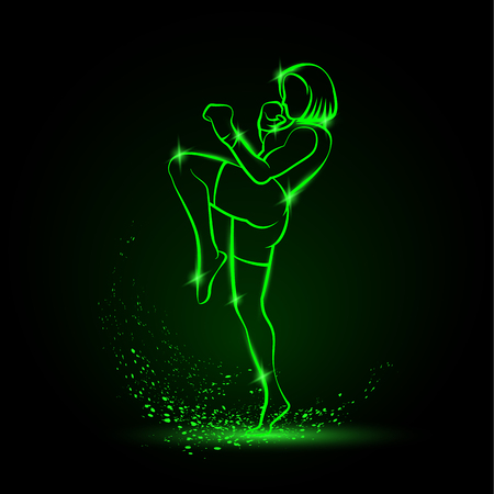 Muay Thai boxing fighter woman kick knee. Green linear neon thai boxing fighter on a black background.