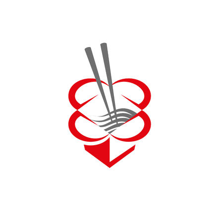 Chinese food box with chopsticks and noodles. Abstract food box icon for restaurant or food delivery.