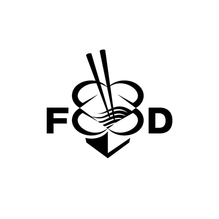 Chinese food box with chopsticks and noodles. Abstract food box logo for restaurant or food delivery. Stock Illustratie