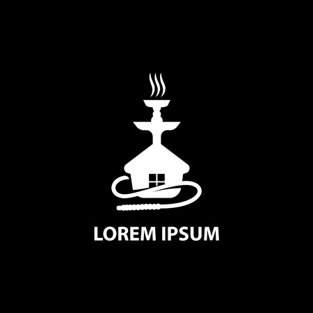 Modèle de logo de maison de narguilé pour fumer un bar à chicha ou vendre des narguilés.