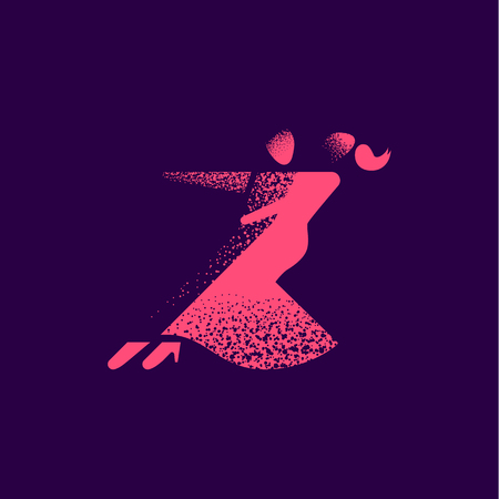 Couple dancing tango. Flat style illustration with halftone effect.