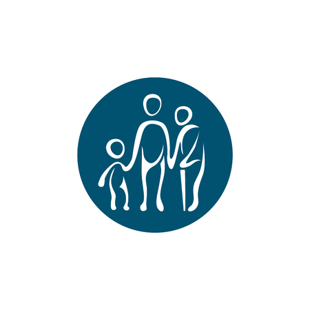 Generation logo template. Simple linear icon with a child, adult and old man with a cane. Stock Illustratie