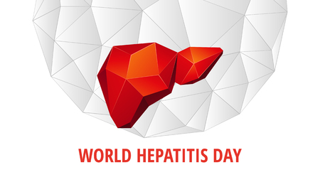 World Hepatitis Day background. Abstract anatomy organ. Liver in 3D polygon style. Stock Illustratie