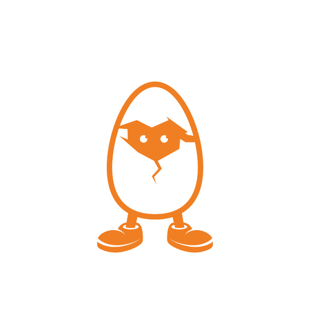 Chicken in the egg looks through the crack in the shell. Illustration