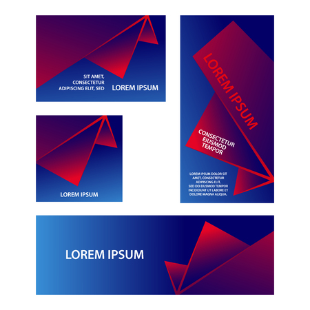 Red and blue abstract geometric banners set. Abstract triangular shapes with gradients for banner, cover, flyer, announcement, invitation. Stock Illustratie