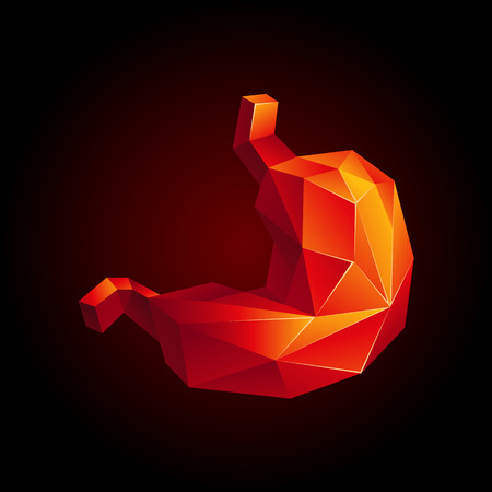 Red low poly human stomach on a black background. Abstract anatomy organ. Stomach in 3D polygon style.
