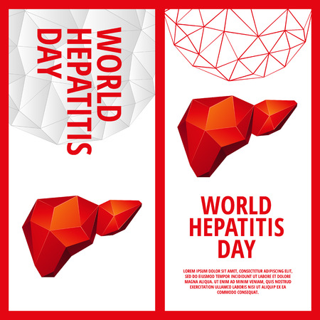 World Hepatitis Day flyer template. Abstract anatomy organ. Liver in 3D polygon style.
