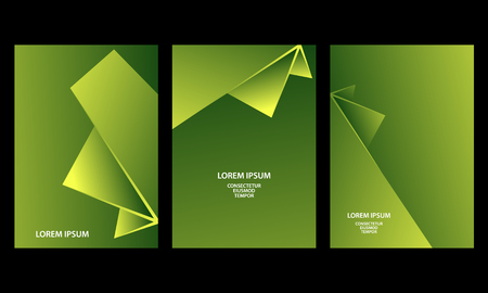 Green abstract geometric backgrounds set. Abstract triangular shapes with gradients for banner, cover, flyer, announcement, invitation.