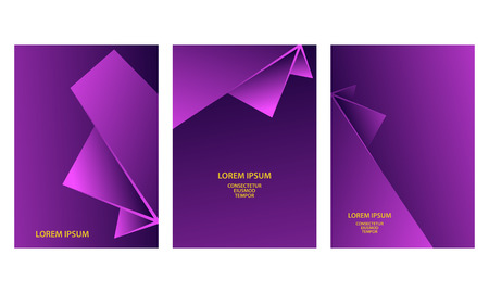 Purple abstract geometric backgrounds set. Abstract triangular shapes with gradients for banner, cover, flyer, announcement, invitation. Stock Illustratie