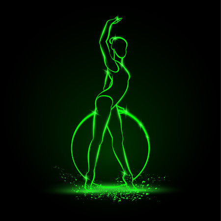 Professional woman rhythmic gymnastics athlete performing with hoop. Green linear neon gymnast silhouette on a black background. Vector sport illustration. Stock Illustratie