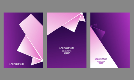 Purple and white abstract geometric backgrounds set. Abstract triangular shapes with gradients for banner, cover, flyer, announcement, invitation.
