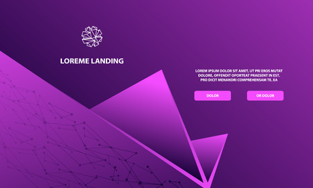 Purple abstract geometric landing page. Abstract triangular shapes with gradients for banner, site, lending and social network covers.