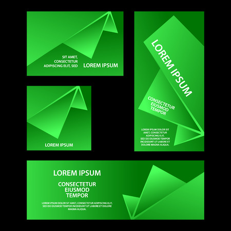 Green abstract geometric banners set. Abstract triangular shapes with gradients for banner, cover, flyer, announcement, invitation.
