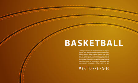 Three Seam Strips on a Basketball Ball. Red Leather Ball With Stitch Background. Illustration