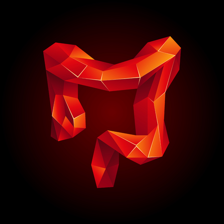 Red low poly human colon on a black background. Abstract anatomy organ. Large intestine in 3D polygon style.