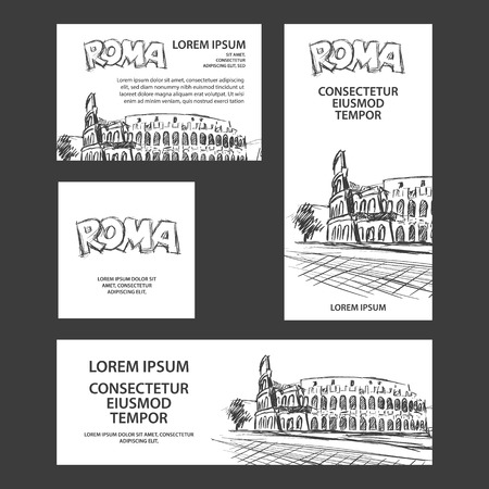 Rome trip banner set with Colosseum illustration. Hand drawn Colosseum sketch background for banner, cover, flyer, announcement, invitation. Stock Illustratie
