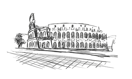 Roman Coliseum. Sight in Rome, Italy. Hand drawn vector sketch. Vectores