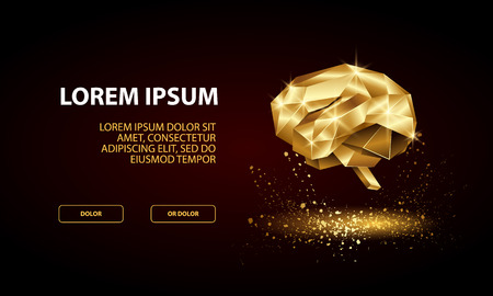 Technology Landing Page Template with low poly golden human brain. Stock Illustratie