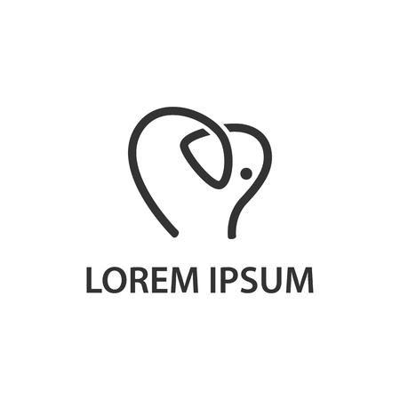 Icono de elefante lineal abstracto. Idea de logotipo en forma de elefante y corazón para la tarjeta de presentación, la marca y la identidad corporativa.
