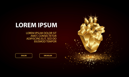 Technology Landing Page Template with low poly golden human heart.