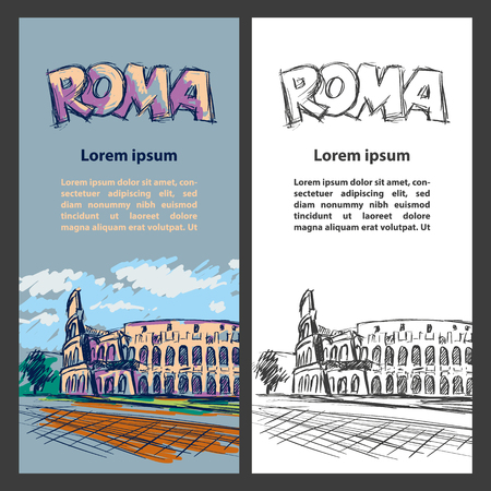 Rome trip banner set with Colosseum illustration. Hand drawn color Colosseum sketch background for banner, cover, flyer, announcement, invitation. Stock Illustratie
