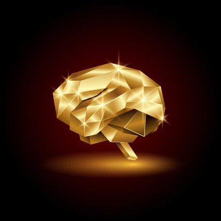 Low poly golden human brain. Abstract anatomy organ. Vector 3D polygon Gold Brain. Stock Illustratie