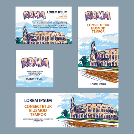 Rome trip banner set with Colosseum illustration. Hand drawn color Colosseum sketch background for banner, cover, flyer, announcement.