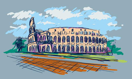 Roman Coliseum. Sight in Rome, Italy. Hand drawn color vector sketch.
