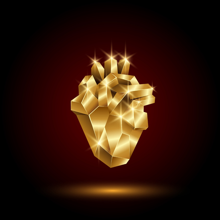 Low poly golden human heart. Abstract anatomy organ. Vector 3D polygon gold heart.