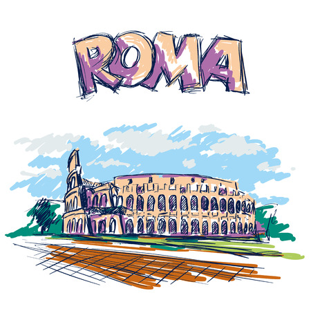 Roman Coliseum. Sight in Rome, Italy. Hand drawn color vector sketch with Roma headline text.
