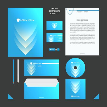 Corporate Identity business template. Blue and white corporate style set with shield and arrow elements for background.