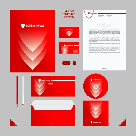 Corporate Identity business template. Red and white corporate style set with shield and arrow elements for background.