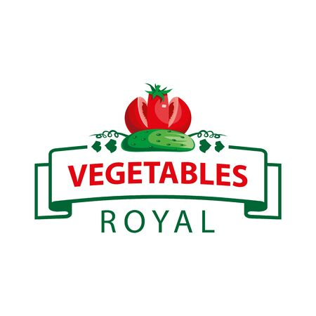 Royal vegetables emblem with tomato and cucumber. Tomato and cucumber look like a crown.