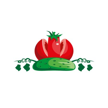 Tomato and cucumber look like a crown. Royal vegetables emblem with tomato and cucumber.