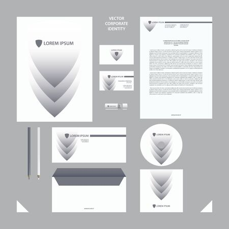 Corporate Identity business template. Gray and white corporate style set with shield and arrow elements for background.