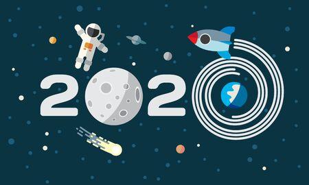 L'astronauta e il razzo sullo sfondo della luna. Illustrazione di tema spazio piatto per il calendario. Felice anno nuovo 2019 copertina, poster, volantino. Vettoriali