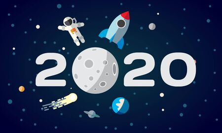 Flat space theme illustration for calendar. The astronaut and rocket on the moon background. 2020 Happy New Year cover, poster, flyer. Ilustracja