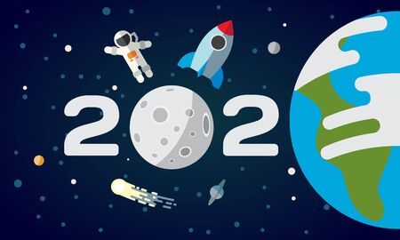 Flat space illustration with planet Earth and moon. 2020 text with an astronaut and a rocket. Happy New Year cover, poster, flyer, calendar.
