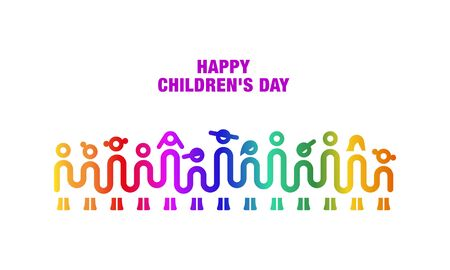 Children holding hands. One line art of simple children's silhouette. Minimalistic Kids Concept for Happy Children's Day. Illustration