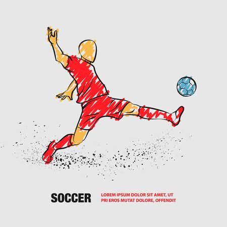 Soccer striker. Football player hits the ball. Vector outline of soccer player with baby doodles.
