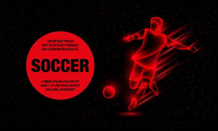 Soccer player hits the soccer ball. Abstract football player with fire effect. Vector Sport Background for banner.